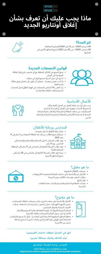 Lockdown instructions in Arabic